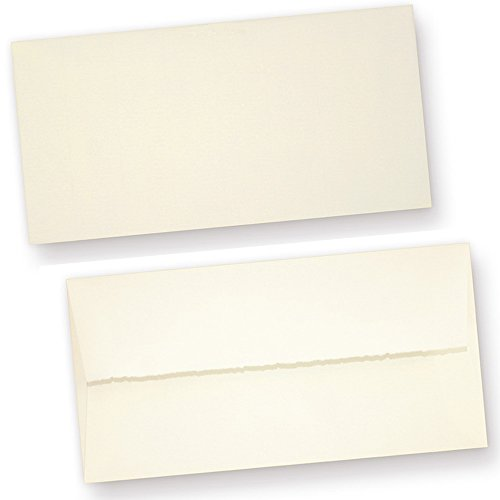 Echt Bütten Briefumschläge (25 Stück) edel gefüttert Umschläge DIN lang aus Büttenpapier, fein gerippt