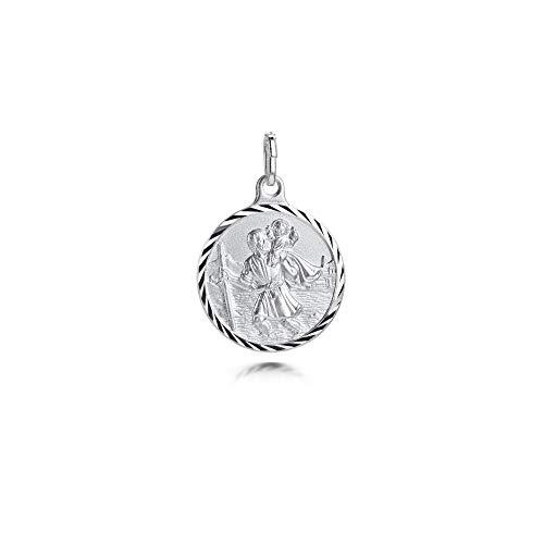 Amberta 925 Sterling Silber Medaille - Anhänger mit dem Heiligen Christophorus - Religiöser Beschützer Talisman - Münze für Frauen und Männer
