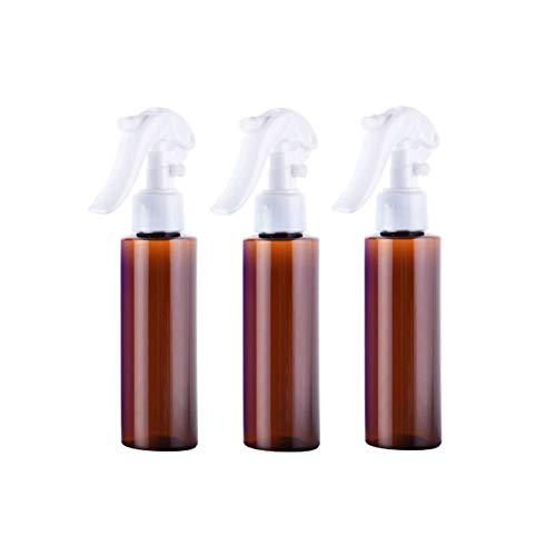 3PCS 100ML 0.34OZ vide bouteille de pulvérisateur en plastique d'épaule plate brune avec buse blanche maquillage portable eau toner parfum pot support de flacon contenant des cosmétiques