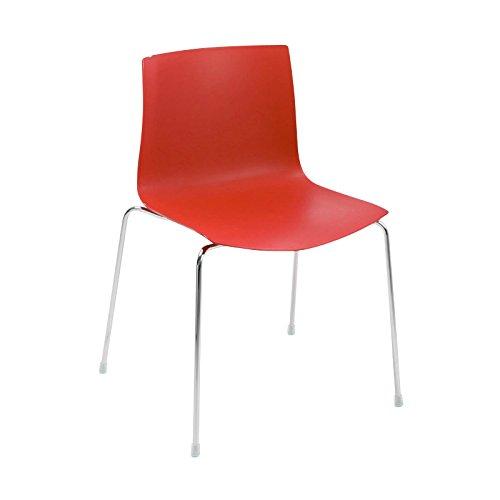 arper Catifa 46 Stuhl einfarbig Gestell Chrom, rot Außenschale glänzend innen matt BxTxH 56,5x50,5x80cm Gestell Stahl vechromt