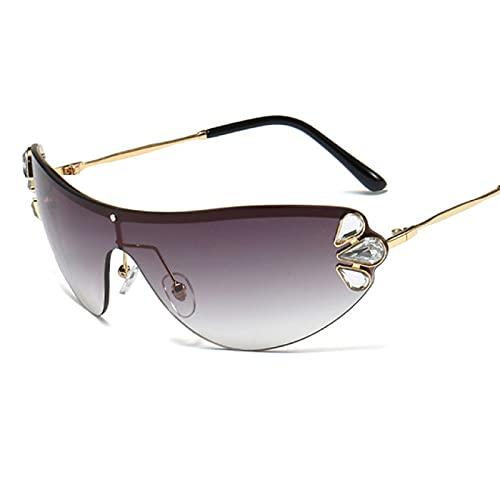 WOJING Diamante Gato Ojo Gafas de Sol Mujeres sin rimo de una Pieza Hombres Hombres Gafas de Sol Moda Rhinestone UV400
