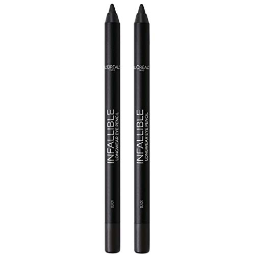 L'Oreal Paris Makeup Infallible Pro-Last Pencil Eyeliner, Waterproof and Smudge-Resistant, Glides on Easily to Create any Look, Black, 2 Count