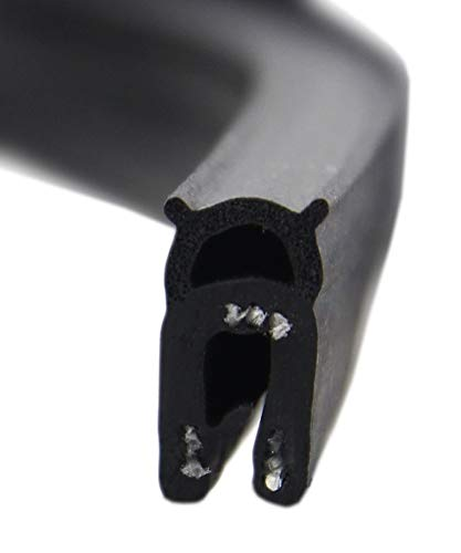 DO3 Dichtungsprofil von SMI-Kantenschutzprofi mit Dichtung oben - Klemmbereich 1-2 mm - Klemmprofil und Dichtung aus EPDM Moosgummi - einfache Montage, selbstklemmend ohne Kleber (5 m)
