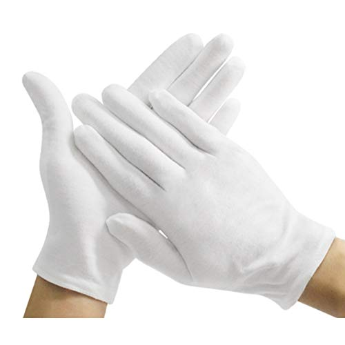 12 paia di guanti in cotone bianco, taglia M, spessi, riutilizzabili, morbidi guanti da lavoro per ispezioni di monete e gioielli in argento