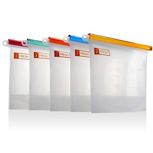 fFRESH 5X Reusable Freezer bags Quart qt –0.3 Pound Heavy Duty 30oz. Silicone Food Storage Bags, Airtight Leakproof Freezer Organizer silicone baggies. Drawer keep fresh Veggie Organizer