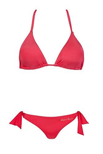 Emporio Armani Swimwear Damen Triangle REM.Cups & Brazilian W/Bows Beachwear Tropical Safari Bikini-Set, Rosa (Geranio 07274), 40 (Herstellergröße: L)