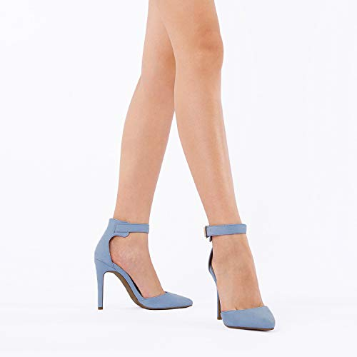 DREAM PAIRS Oppointed-Ankle Women's Pointed Toe Ankle Strap D'Orsay High Heel Stiletto Pumps Shoes Baby Blue Suede -7M US
