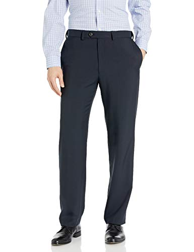 Haggar Men's Repreve Stria Hidden Expandable Waist Plain Front Dress Pant, Navy,38x30