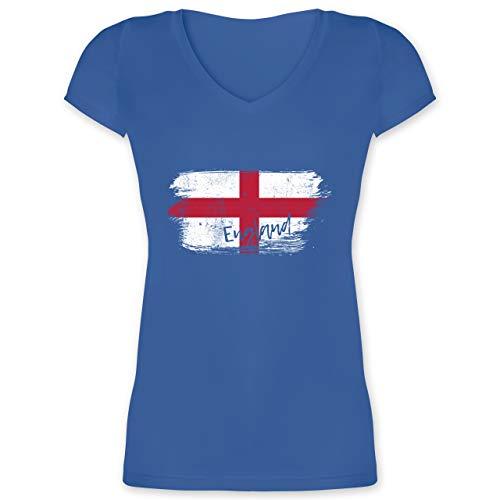 Fußball-Europameisterschaft 2021 - England Vintage - M - Blau - Trikot England Frauen wm - XO1525 - Damen T-Shirt mit V-Ausschnitt