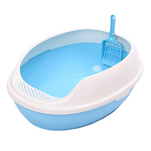 Open Top Cat Litter Box Pan Rimmed High Sides PP Plastic Kitty Litter Box with Scoop, Easy to Clean only Suitable for Little Cats Within 3 Months up to 3kg(Blue)
