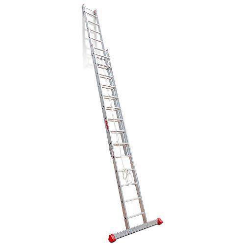 Faraone - Escalera de Aluminio - Escalera Extensible con Cuerda EN 214-400 x 48 x 16 cm - 14+14 Peldaños - Máxima Estabilidad y Seguridad - Escalera Extensible Muy Resistente