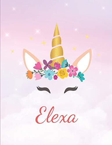 Elexa: Personalized Unicorn Sketchbook For Girls With Pink Name - Girls Customized Personal journal/ blank book  - 8.5x11 110 Pages  Doodle Sketch Create- cute drawing notebook