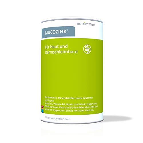 nutrimmun MUCOZINK Pulver (300 g) – Nahrungsergänzungsmittel für Haut und Darmschleimhaut – Vitamine und Mineralstoffe für die Mikronährstoffversorgung plus die Aminosäuren Glutamin und Taurin