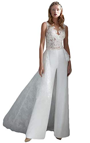 The Peachess Jumpsuits Brautkleider mit abnehmbarer Zugspitze Bohemian Strand Brautkleider Overskirt - Weiß - 32