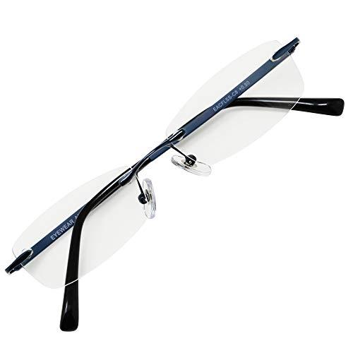フチなし 軽い 老眼鏡 アイウェアエア おしゃれなフレームレス メンズ レディース ブルーライトカット +0.5〜+2.0 4色 スクエアスリム ブルー C8 +1.50