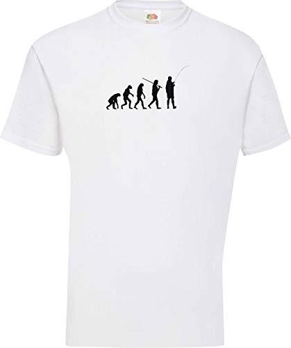 Shirtinstyle T-Shirt Evolution Angeln Fischen Fischer Fishing Hunter Evo Kultstyle, Farbe Weiss, Größe XL