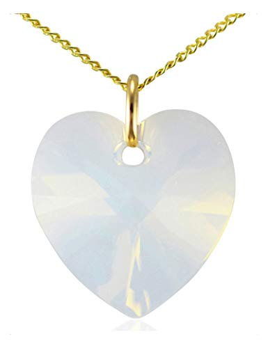 Girls 9ct Yellow Gold October Birthstone Opal White Heart Necklace Genuine Austrian Crystal Pendant 18 inch