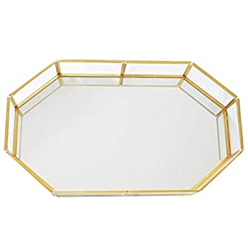 16.5   inch Large Decorative Tray ,Vintage Glass Jewelry Tray with Mirrored Bottom Vanity Organizer for Accent Table,Gold Leaf Finish