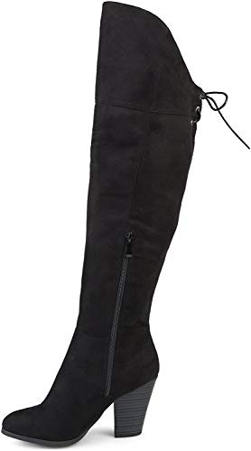 Brinley Co. Womens Siro Faux Suede Over-the-knee Boots Black, 10.5 Wide Calf Women US
