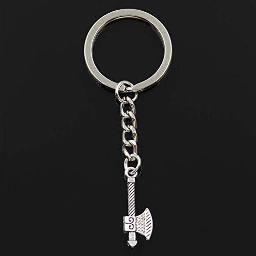 XHYKL sleutelhanger 27 x 10 mm bijl tomahawk hanger DIY mannen sieraden auto sleutelhanger ringen geschenk