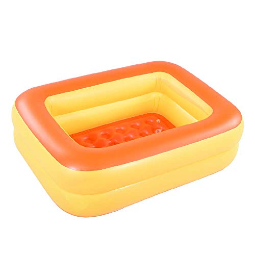 HIWENA Inflatable Kiddie Pool, 45' Orange Kids Swimming Pool Summer Water Fun Bathtub with Inflatable Soft Floor