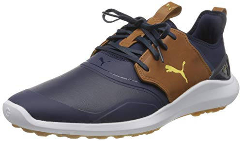 PUMA Ignite NXT Crafted, Scarpe da Golf Uomo, Blu (Peacoat/Leather Brown Team Gold), 45 EU