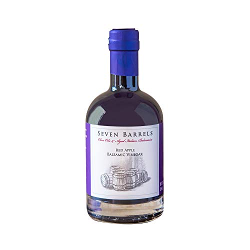Seven Barrels - Red Apple Balsamic Vinegar   12.7 Ounces   Wooden Barrel Aged Gourmet Balsamic Vinegar Infused with Apple  Great for Salad Dressings and Pairing with our Infused EVOO's!