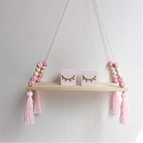 SHYPT Columpio de Cuerda de Madera para Colgar en la Pared, Bandeja para macetas para Plantas, estantería para Dormitorio Infantil (Color : A)