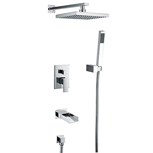 Duradero Ducha termostática en cascada y ducha de lluvia Set de ducha termostática Ducha de 3 vías (Bath & Shower Faucet Type : In-Wall B+amp; S Faucets)