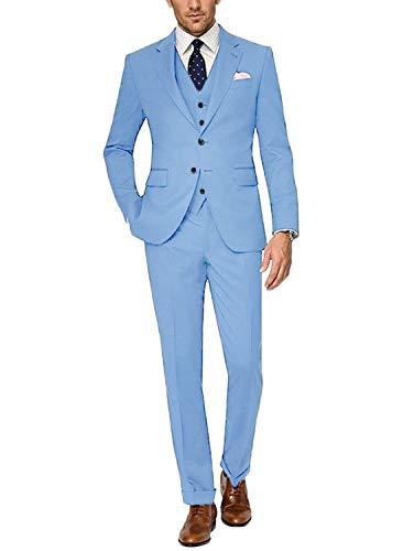 CALVINSUIT Herren Anzug 3-teilig Slim Fit Smoking mit Zwei Knöpfen für die Business Hochzeitsfeier lässig