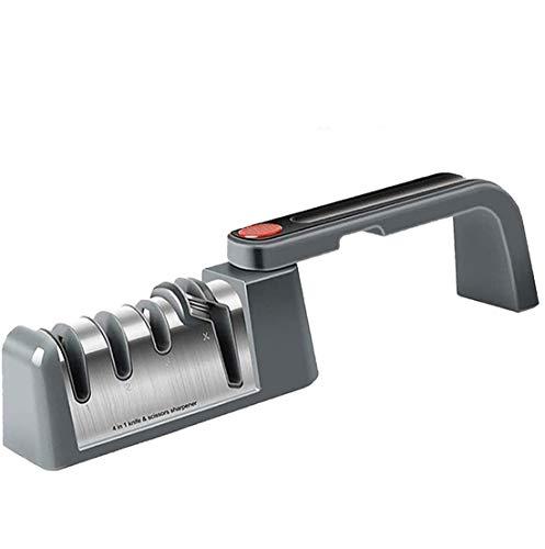 Aiguiseur Couteaux Professionnel, 4 en 1 Pliable Manuel Aiguiseur Affuteur Couteau et Ciseaux, Knife Sharpener avec Base Antidérapante pour Couteaux Cuisine de Toutes Tailles