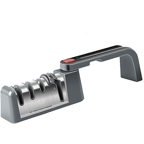 Affilacoltelli da Cucina, Affilatura Coltello 4-in-1 Pieghevole Affilacoltelli Professionale Manuale, Forbici Knife Sharpener Cucina Affilatura Utensili per Riparare Coltelli da Cucina