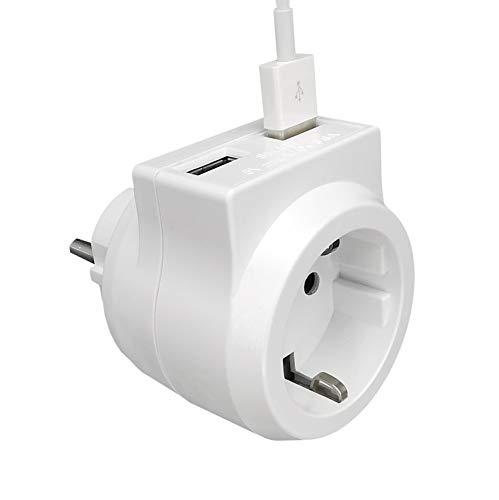 NWR Enchufe USB / enchufe múltiple con 2 interfaces USB (18 W / 3,6 A) / adaptador de enchufe 3 en 1 con protección infantil / multienchufe blanco como ayuda doméstica y cargador.