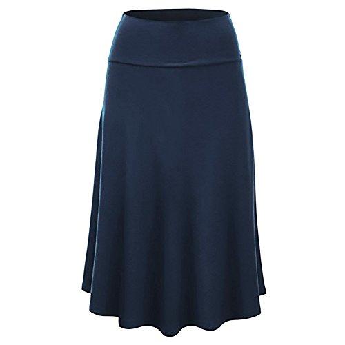 MOMOXI Faldas para Mujer, Mujeres Tallas Grandes Solid Flare Dobladillo Cintura Alta Falda a Media Pierna Uniforme Atractivo Falda Plisada