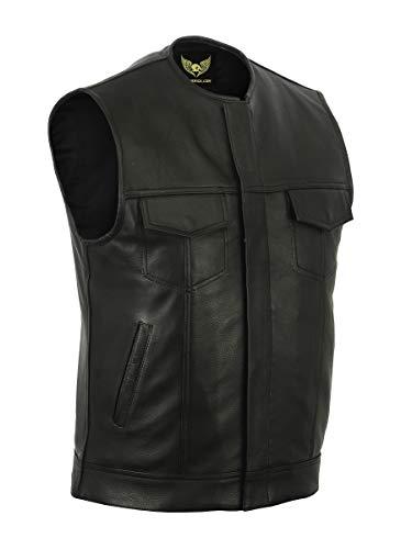 Leatherick SOA Gilet da motociclista in vera pelle da uomo senza colletto per motociclismo e moda, con tasche profonde (L - EUR52)