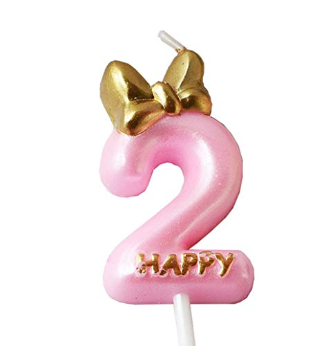 QQYL Pink 2 Candle Birthday Girl,Purple Second 2nd Birthday Candle Girl for Cake Topper, Number 2 Cake Topper Gold, 2th Birthday Party Decoration (08 Number 2)