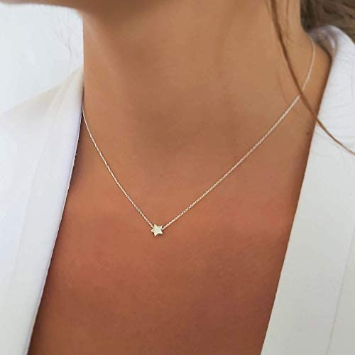 Sterling Silver Necklace for Women Tiny Star Pendant and Dainty Chain Necklace Minimalist Celestial product image