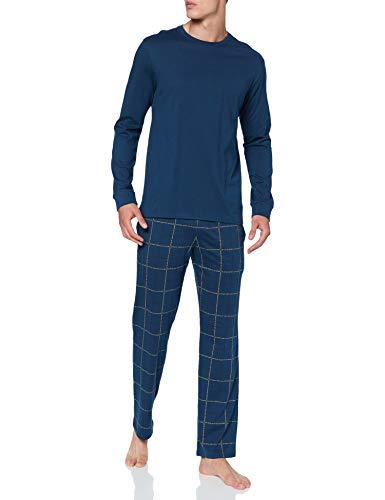 Schiesser Herren Long Life Soft Schlafanzug lang Rundhals Pyjamaset, dunkelblau, 58