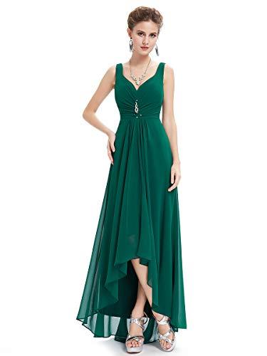 Ever-Pretty Damen V-Ausschnitt Chiffon Lange Abendkleider Größe 44 Dunkelgrün