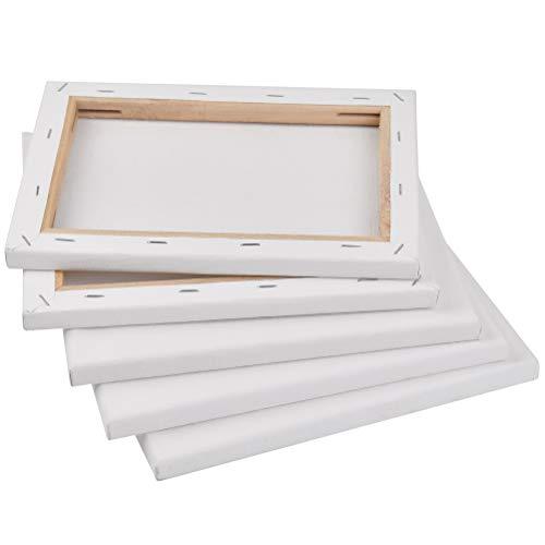 TIMESETL Set di 5 tele da dipingere/Tele con cornice/Cotone, 24x18 cm, Bianco - per colori acrilici, olio, tempera, tempera