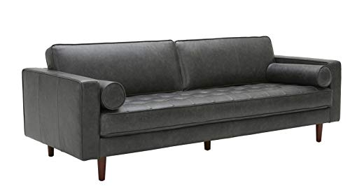 "Amazon Brand – Rivet Aiden Mid-Century Modern Sofa Couch (86.6""W) - Black Leather"