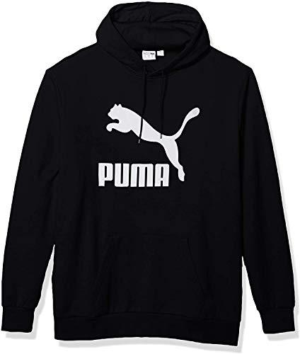 PUMA Men's Essential Hoodie Fleece Big Logo Sweatshirt (Puma Black White, Large)