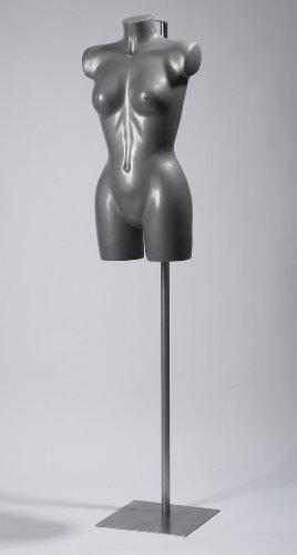 The Shopfitting Shop Silber weiblich Dessous Bademode Schaufensterpuppe Büste mit Metall Bodenständer