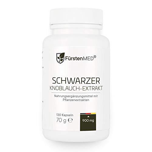FürstenMED Fermentierter Schwarzer Knoblauch Extrakt - 130 Geruchlose Kapseln - Vegan - Immunsystem, Herz Kreislauf & Gesundheit