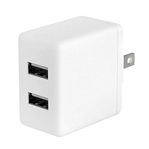 USB Wall Charger 12W/2.4A by TalkWorks - Dual Port Universal Cell Phone Charger Adapter For Apple iPhone, iPad, Nintendo Switch, Android for Samsung Galaxy, Bluetooth Speaker, Tablet - White