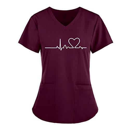 Arbeitskleidung Damen Pflege Oberteil Kasacks mit Herz Motive Frauen Kurze Ärmel V-Neck T-Shirt Tops Pflege Uniformen Sommer Pflege Kleidung Schlupfhemd mit Taschen