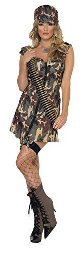 Smiffys, Damen Armee Girl Kostüm, Kleid und Mütze, Größe: S, 33829