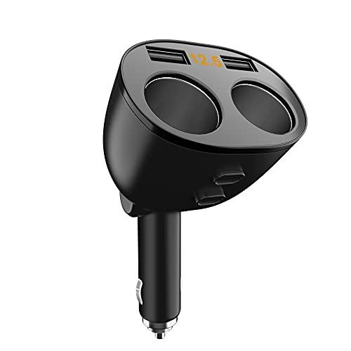Chargeur de Voiture USB 2 Ports, Adaptateur Allume Cigare 2 Prises, avec Affichage à LED de Tension, Compatible avec Téléphone Portable Tablette GPS, 12V 24V 80W Adapté à Diverses Voitures