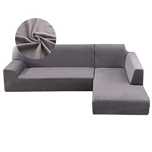 SurfMall Funda de Sofa de Felpa Elástica Chaise Longue Brazo Largo Derecho Funda Cubre Sofá Modelo Acolchado Diseñada de Forma L Protector para Sofá de Poliéster y Spandex Color Sólido (Gris, 2 + 3)