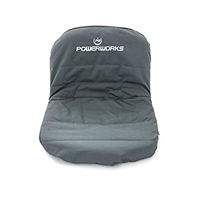 POWERWORKS Waterproof Deluxe Riding Lawn Mower Seat Cover, Medium, Black